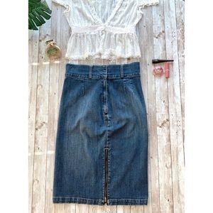 Bisou Bisou mid length zip front denim skirt